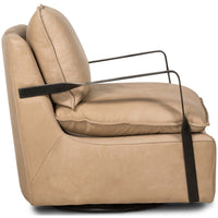 Geraldine Leather Swivel Chair, Harness Burlap - Modern Furniture - Accent Chairs - High Fashion Home
