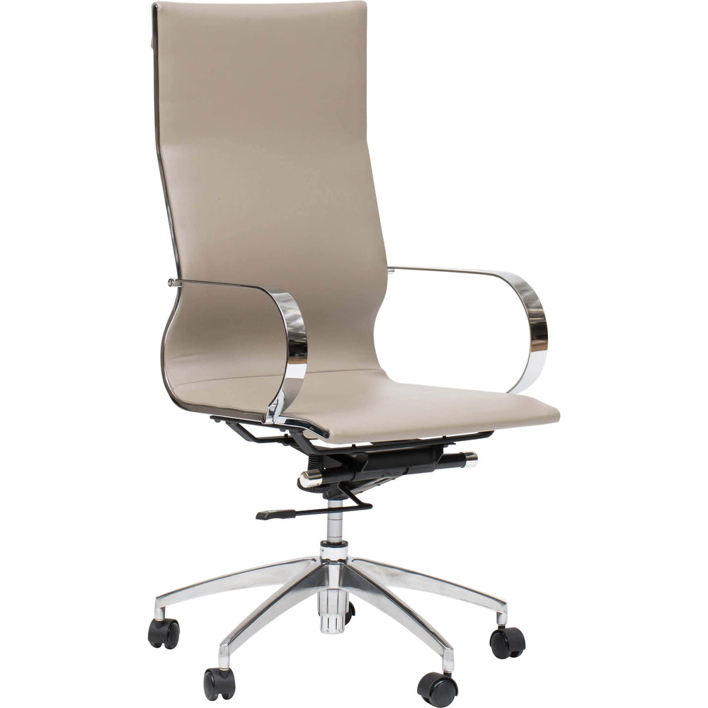 Glider High Back Office Chair, Taupe - Furniture - Office - Chairs