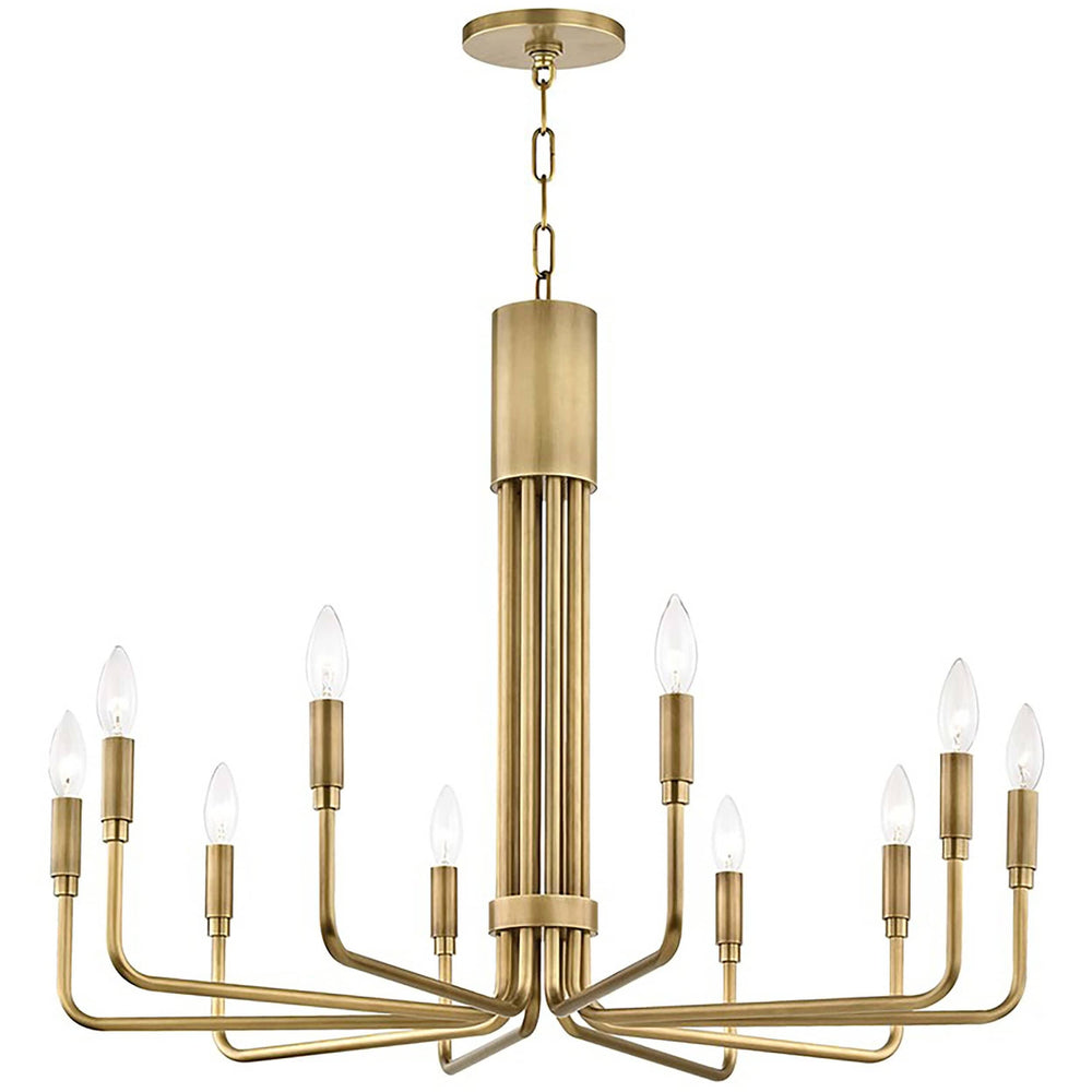 Brigitte 10 Light Large Pendant, Aged Brass - Lighting - Chandeliers