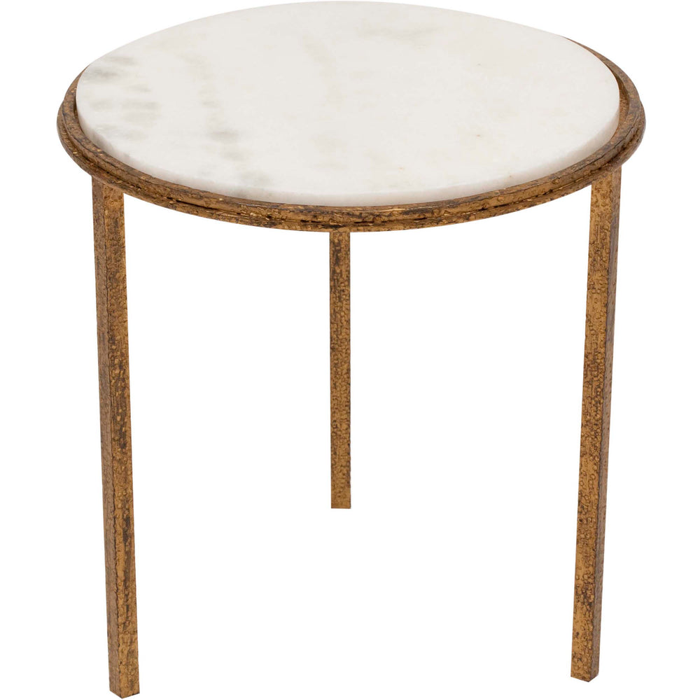 Hammered Gold Round Table - Furniture - Accent Tables - End Tables