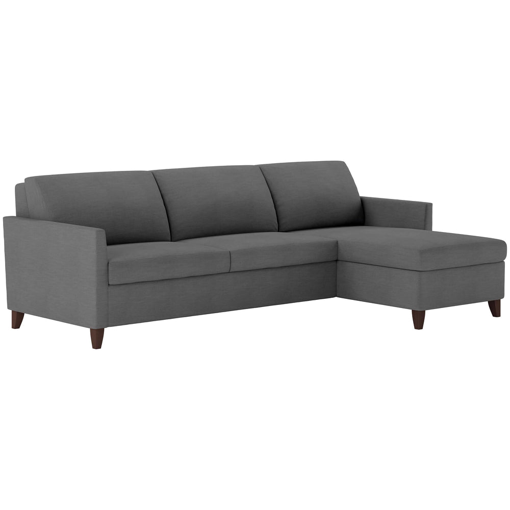 American Leather Harris Queen Sleeper Sectional, Suede Life Heathered Flannel - Modern Furniture - Sectionals - High Fashion Home