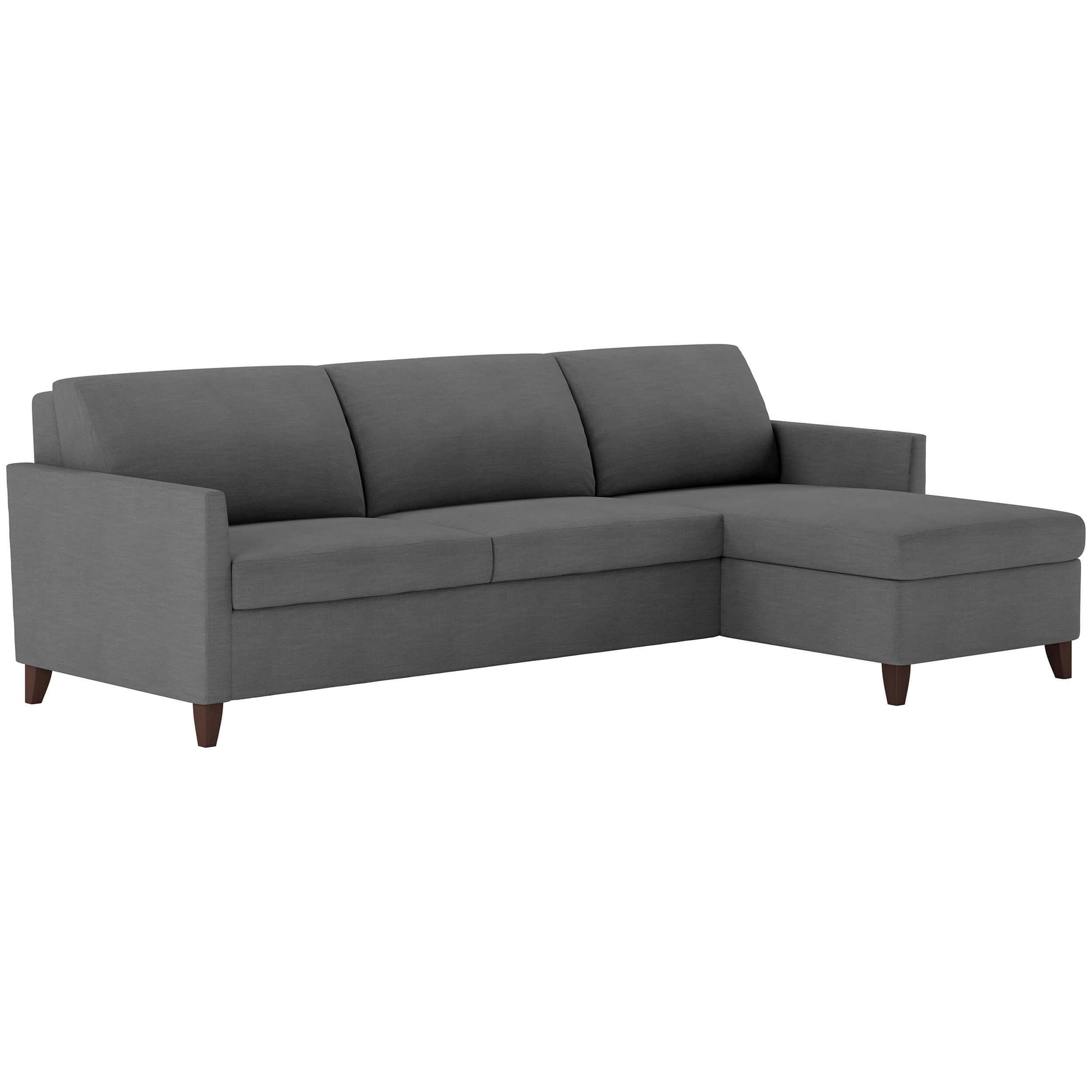 American Leather Harris Queen Sleeper Sectional, Suede Life Heathered  Flannel