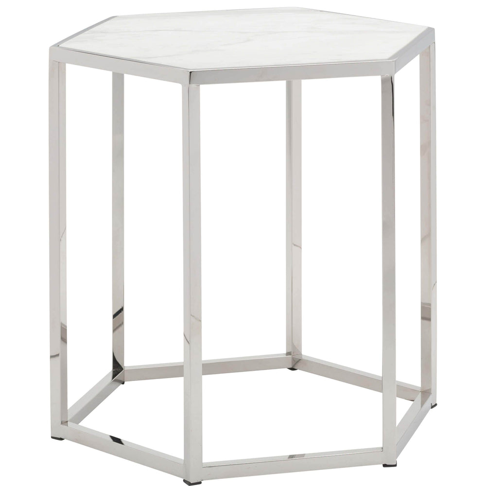 Hexion Side Table, Polished Stainless - Furniture - Nuevo Living