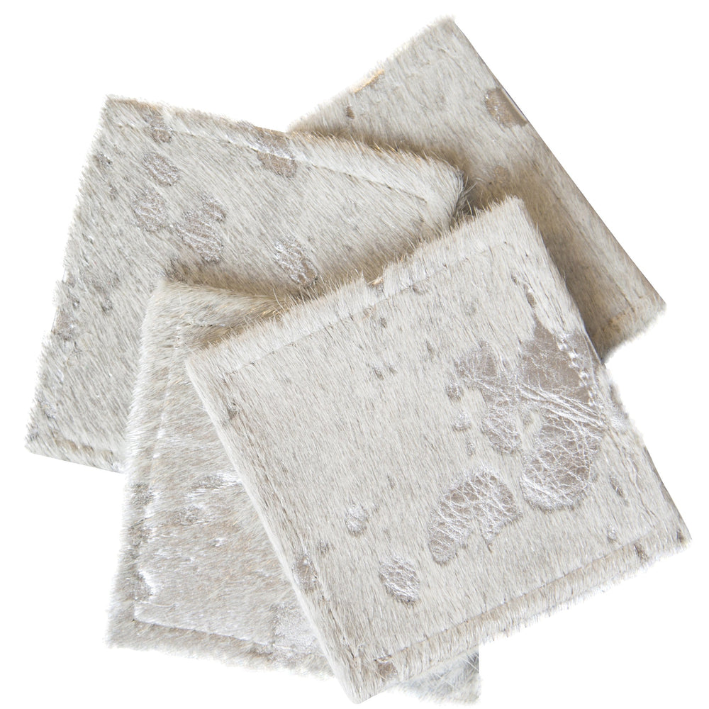Cowhide Coasters Silver, Set of 4 - Accessories - High Fashion Home