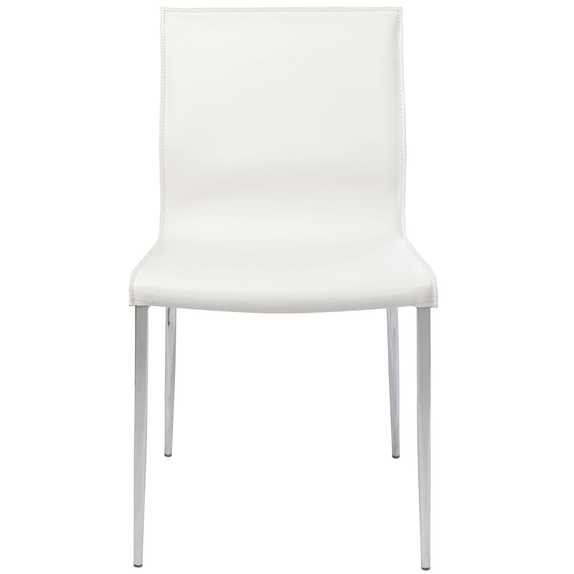 Peachy Colter Leather Dining Chair White Chrome Legs High Beatyapartments Chair Design Images Beatyapartmentscom