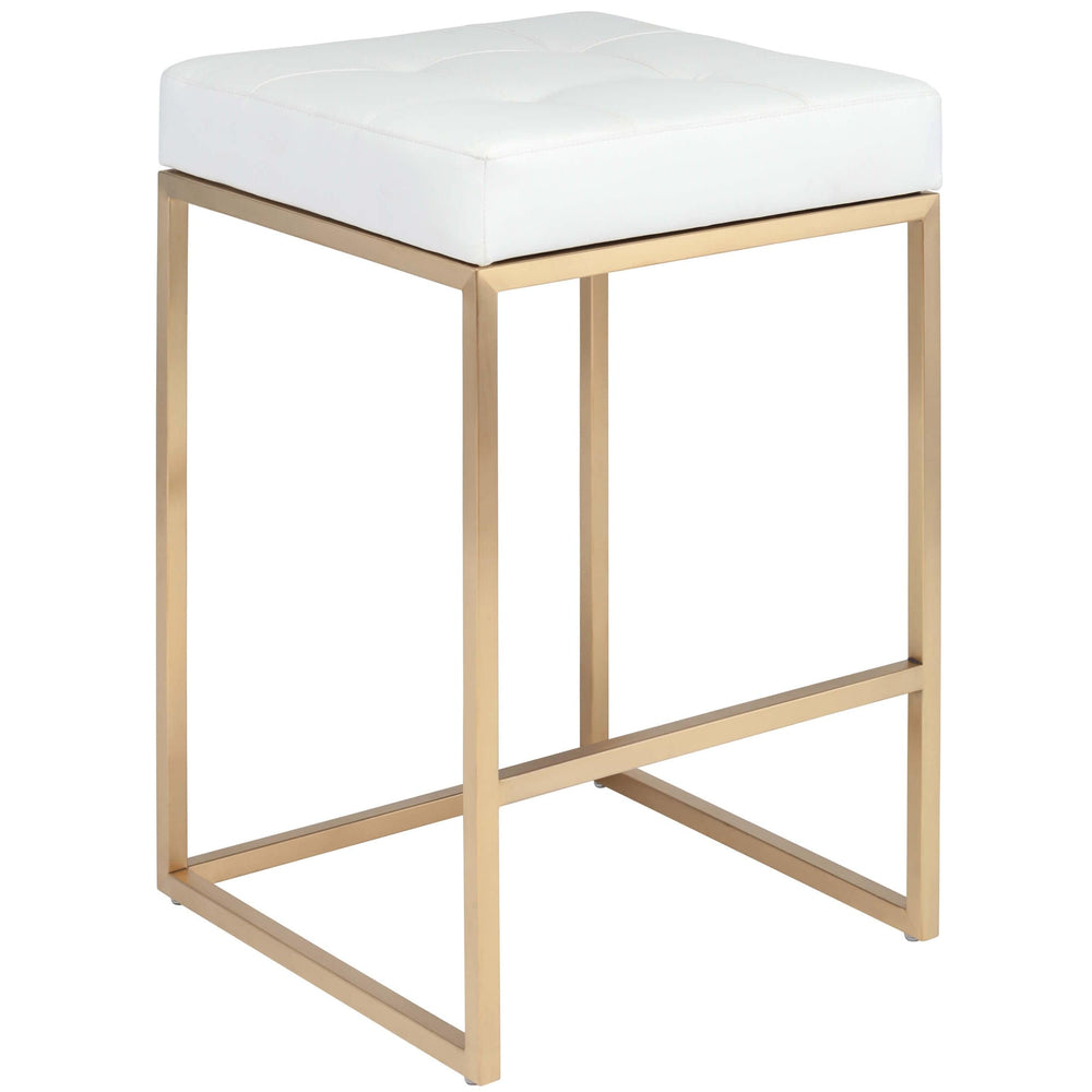 Chi Counter Stool, White/Gold Base - Furniture - Dining - High Fashion Home