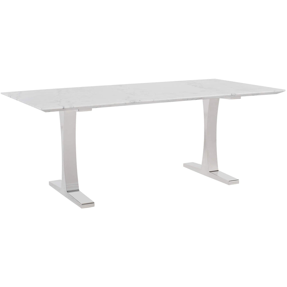 Toulouse Dining Table, White Marble/Polished Stainless Base - Modern Furniture - Dining Table - High Fashion Home