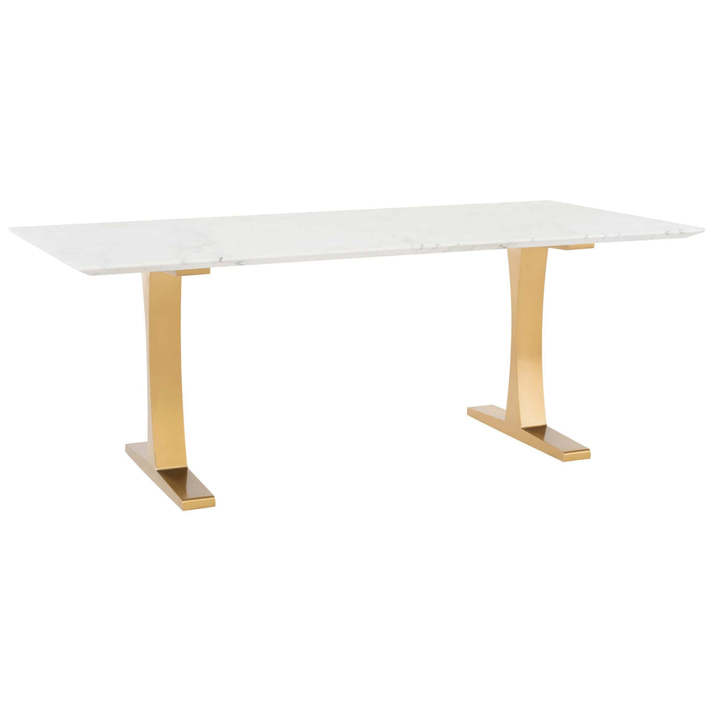 Toulouse Dining Table, White Marble/Polished Gold Base