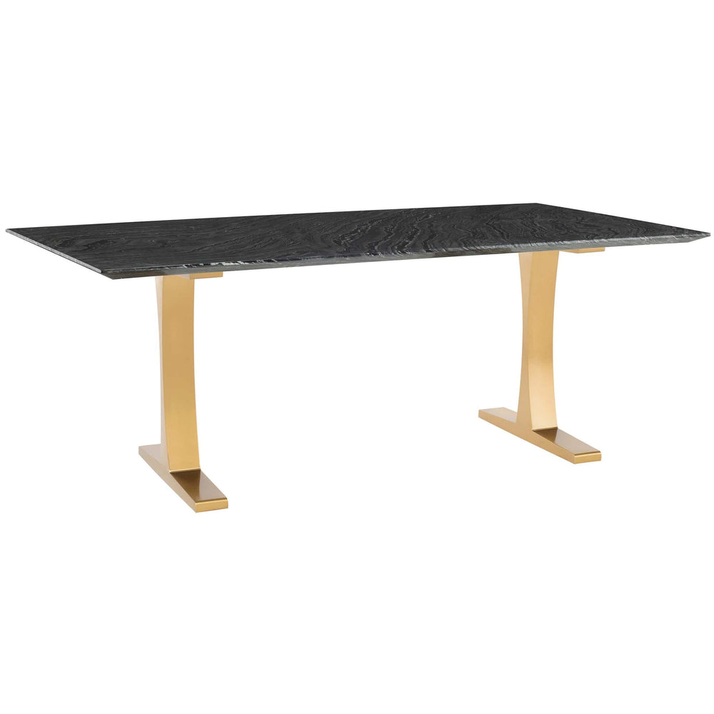 Toulouse Dining Table, Black Wood Vein Marble/Polished Gold Base - Modern Furniture - Dining Table - High Fashion Home