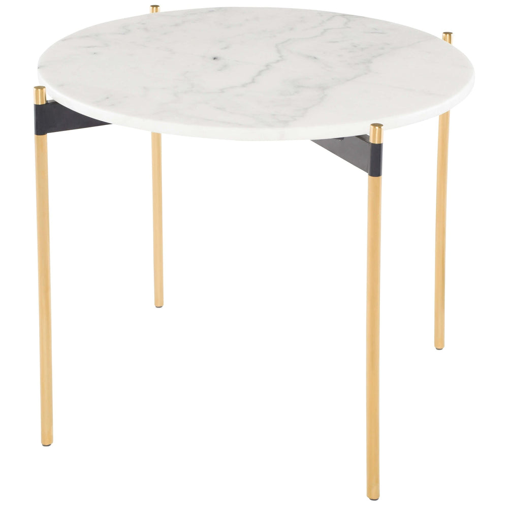 Pixie Side Table, White Marble/Brushed Gold Base