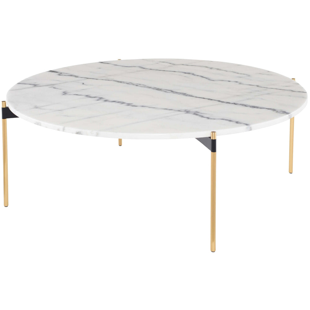 Pixie Coffee Table, White Marble/Brushed Gold Base