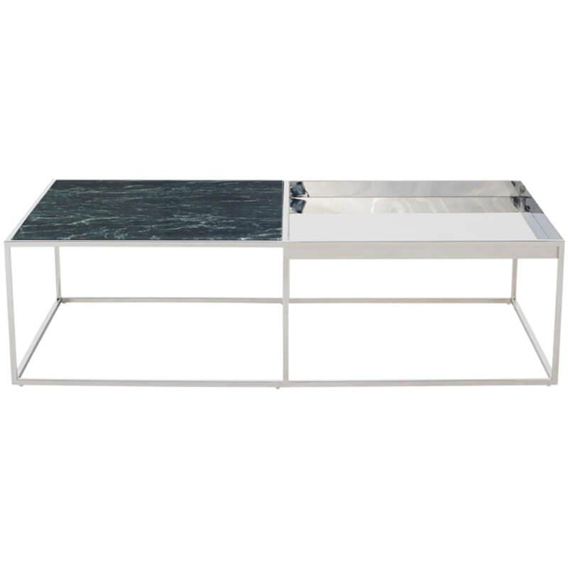 Corbett Coffee Table, Black/Polished Stainless Base - Modern Furniture - Coffee Tables - High Fashion Home