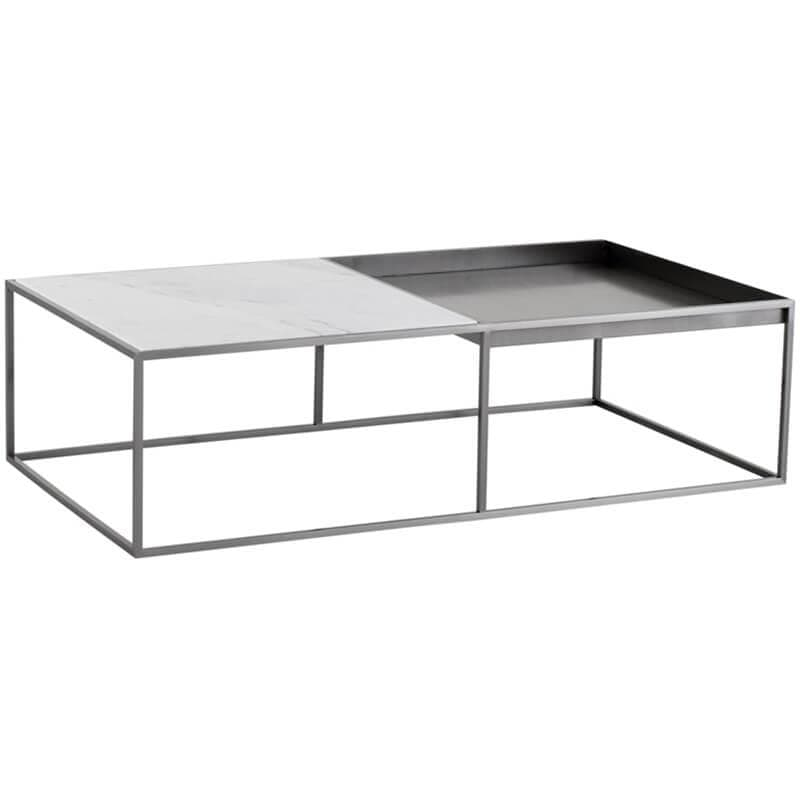 Corbett Coffee Table, White/Brushed Stainless Base - Modern Furniture - Coffee Tables - High Fashion Home