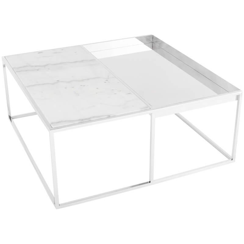 Corbett Coffee Table, White/Polished Stainless Base - Modern Furniture - Coffee Tables - High Fashion Home