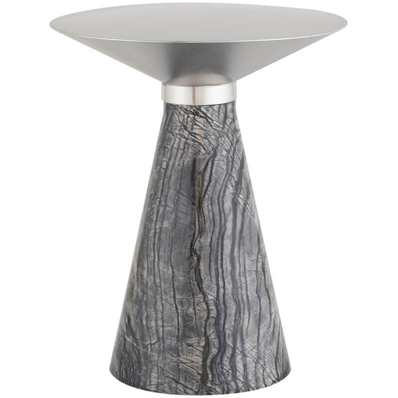 Iris Side Table, Brushed Stainless/Black Base - Furniture - Accent Tables - High Fashion Home