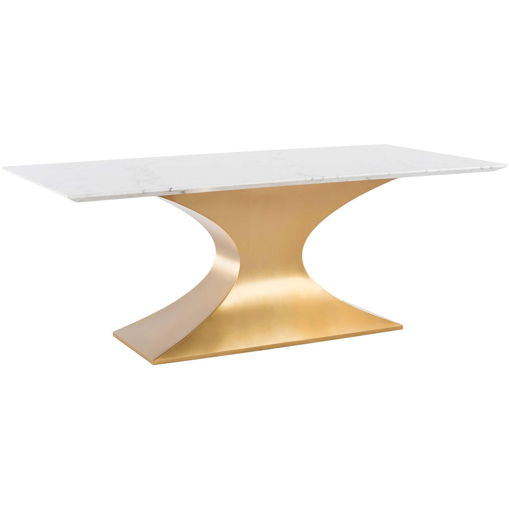 Praetorian Dining Table, White Marble/Brushed Gold Base