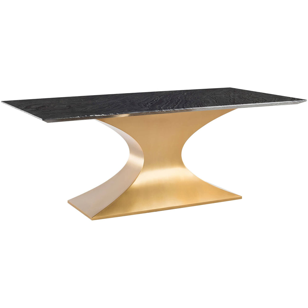 Praetorian Dining Table, Black Marble/Brushed Gold Base - Furniture - Dining - High Fashion Home