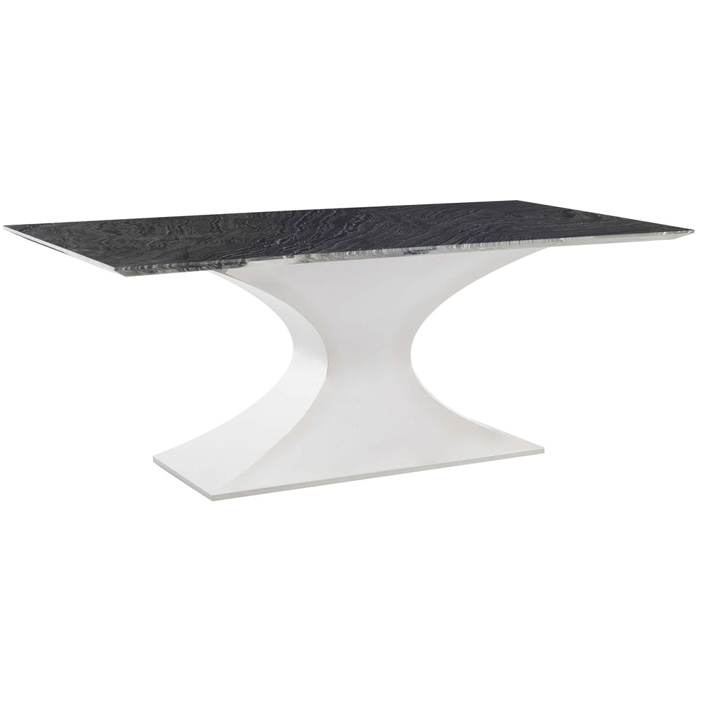 Praetorian Dining Table, Black Marble/Polished Stainless Base