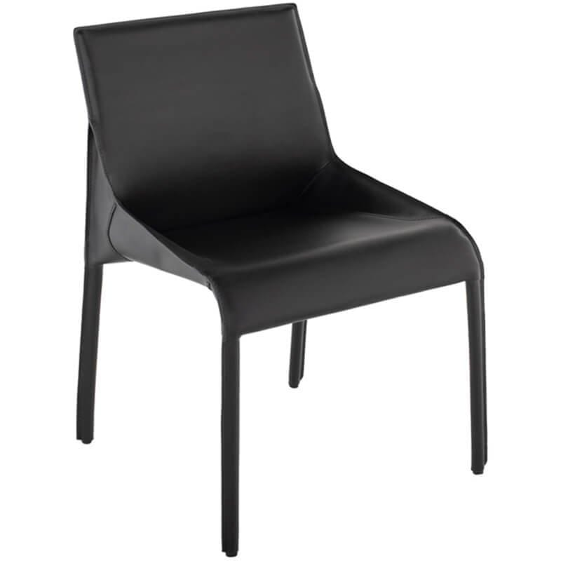 Delphine Leather Side Chair, Black - Furniture - Chairs - High Fashion Home