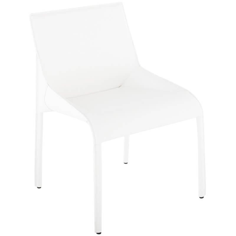 Delphine Leather Side Chair, White