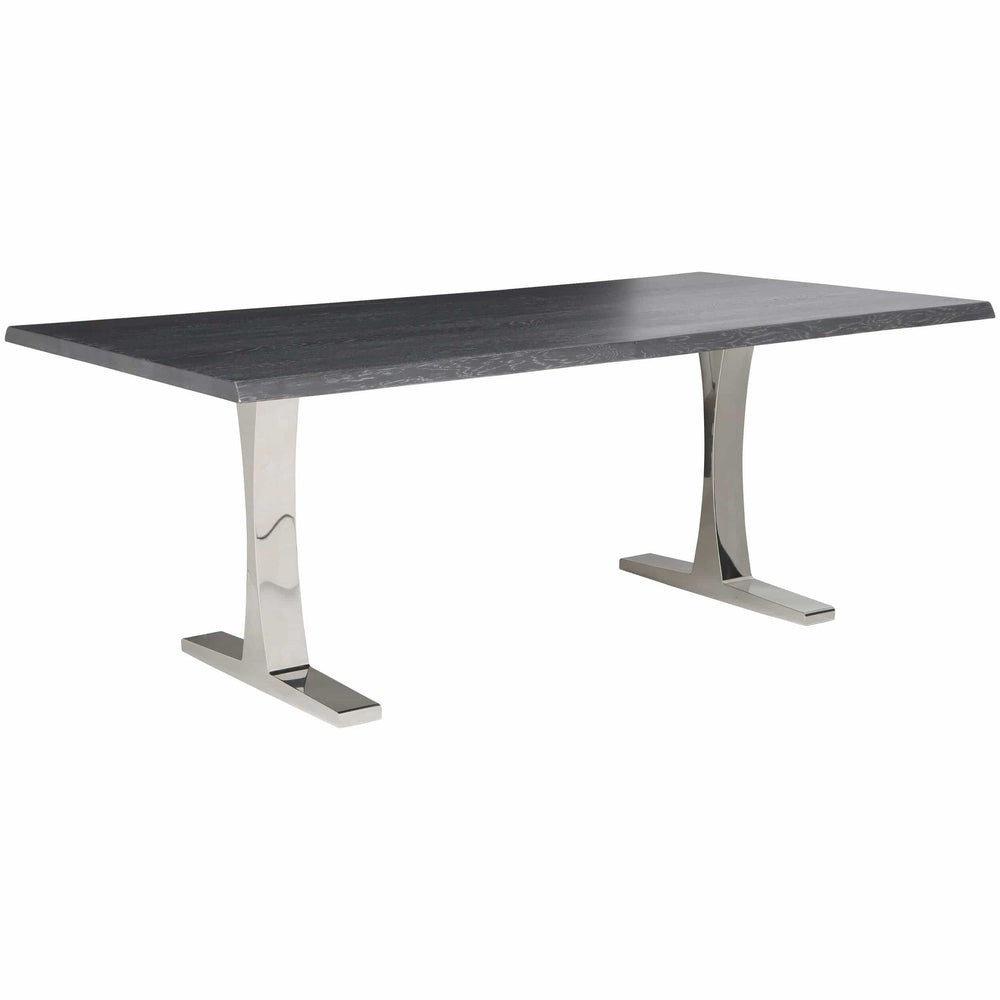 Toulouse Dining Table, Oxidized Grey/Polished Stainless Base - Furniture - Dining - Dining Tables