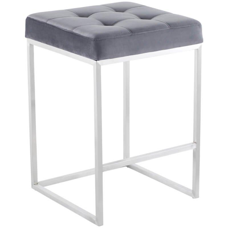 Chi Counter Stool, Tarnished Silver/Brushed Stainless Base