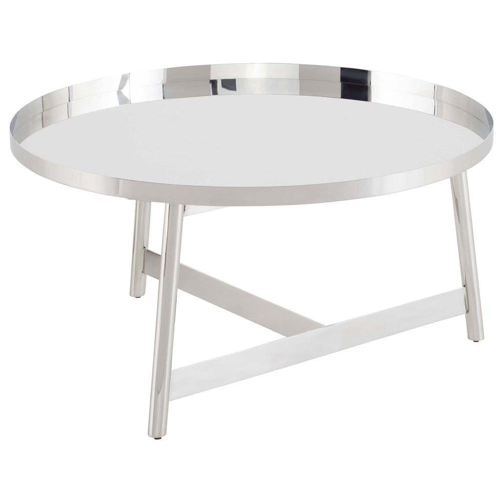 Landon Coffee Table, Polished Stainless - Modern Furniture - Coffee Tables - High Fashion Home