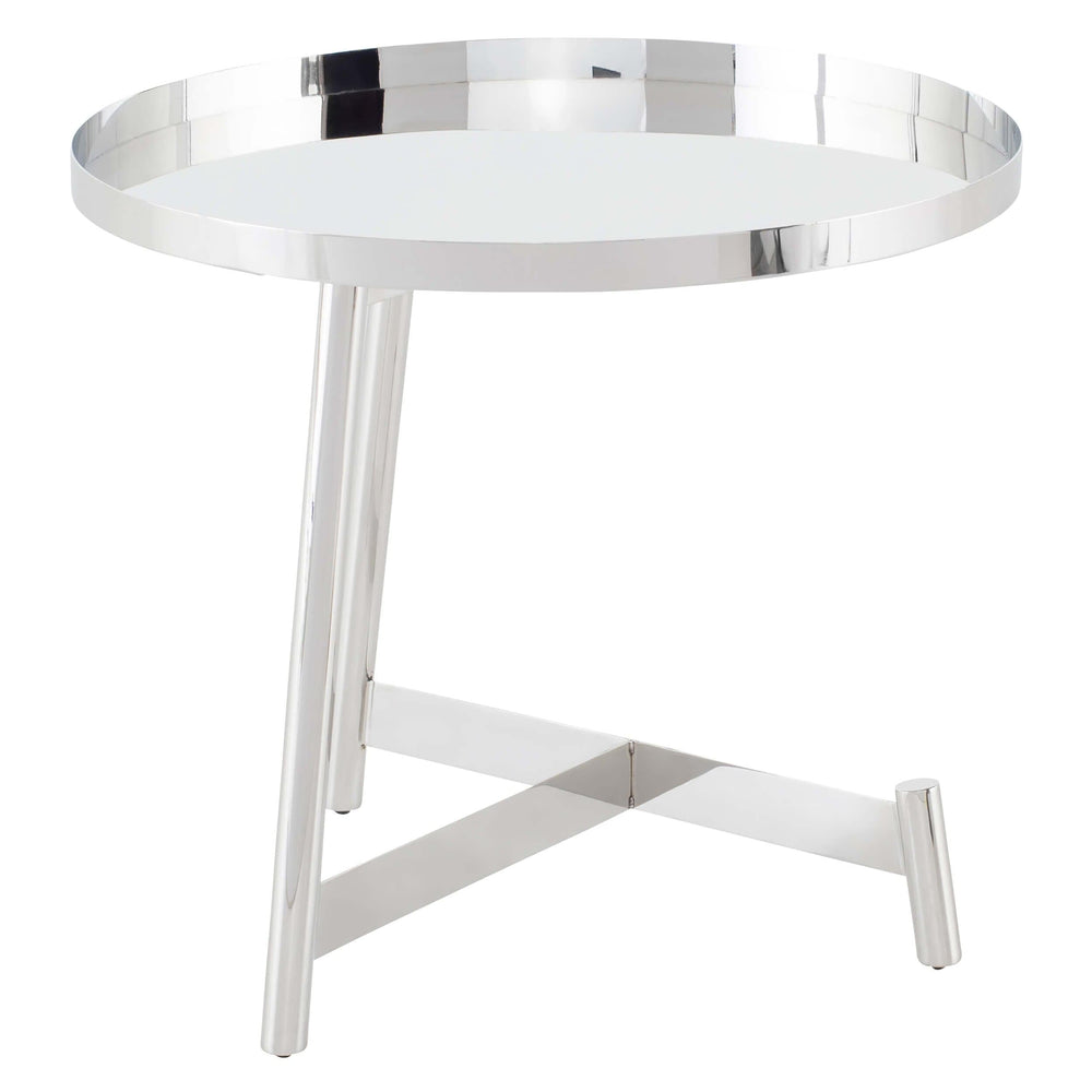 Landon Side Table, Polished Stainless - Furniture - Accent Tables - High Fashion Home