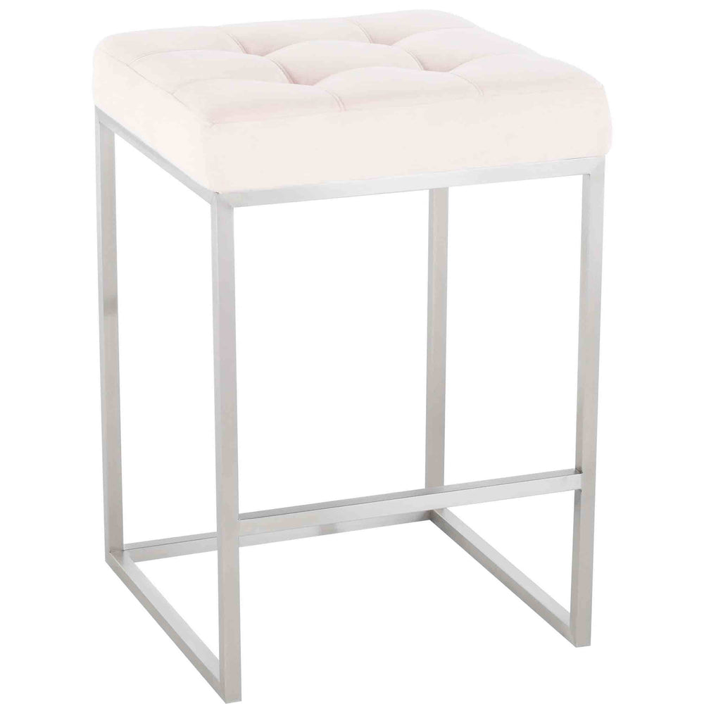Chi Counter Stool, Powder Pink/Brushed Stainless Base - Furniture - Dining - High Fashion Home