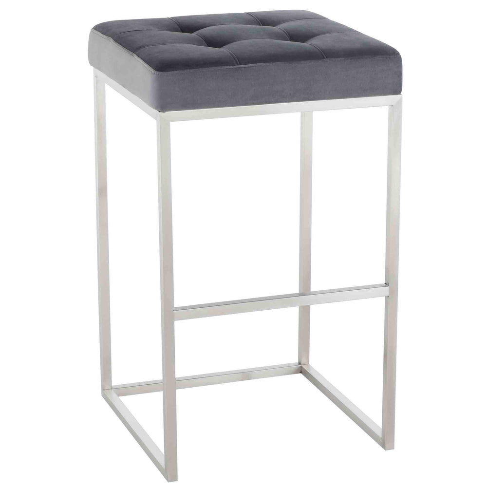 Chi Bar Stool, Tarnished Silver/Brushed Stainless Base - Furniture - Dining - High Fashion Home