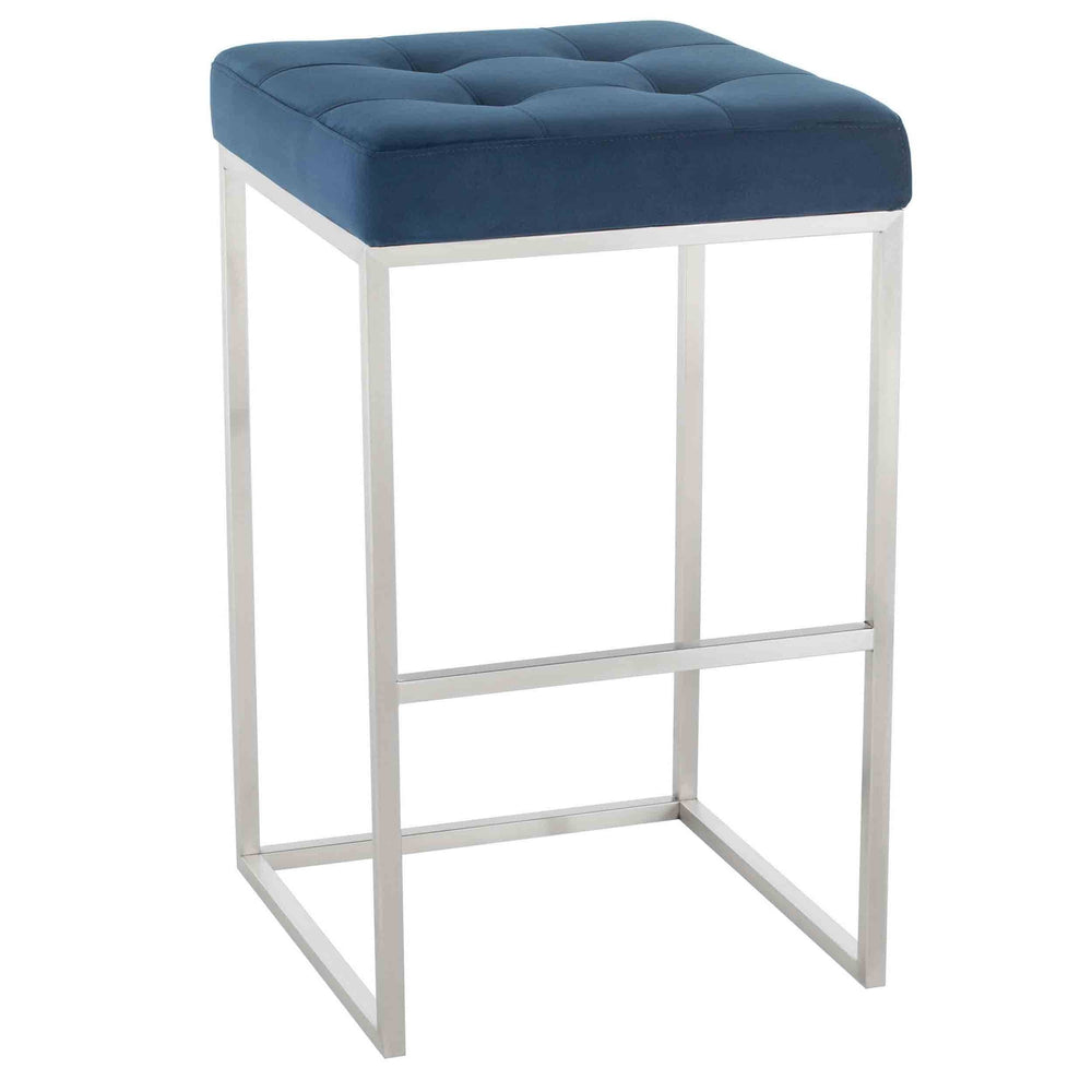 Chi Bar Stool, Peacock/Brushed Stainless Base - Furniture - Dining - High Fashion Home