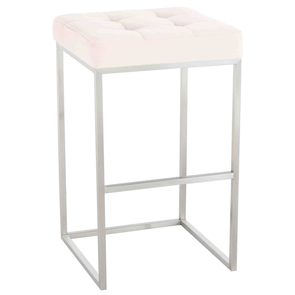 Chi Bar Stool, Powder Pink/Brushed Stainless Base