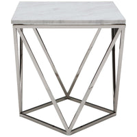 Jasmine Side Table, White/Chrome Base - Furniture - Accent Tables - End Tables