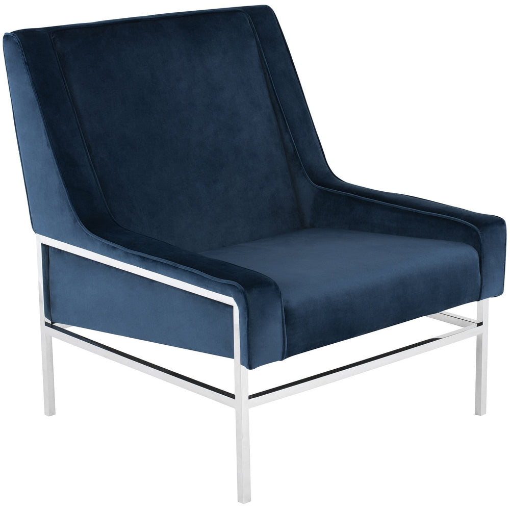 Theodore Chair, Peacock/Polished Stainless Base - Modern Furniture - Accent Chairs - High Fashion Home