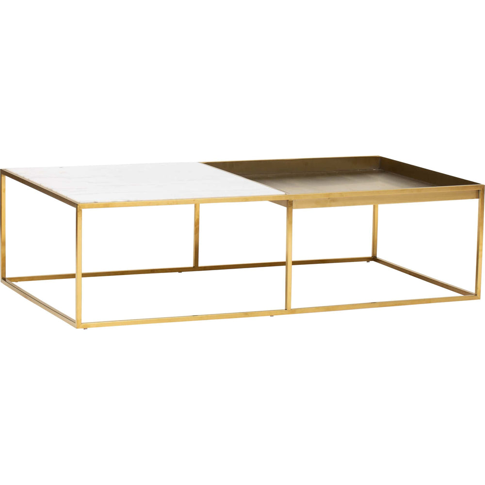 Corbett Rectangular Coffee Table, White/Brushed Gold Base - Furniture - Accent Tables - Coffee Tables