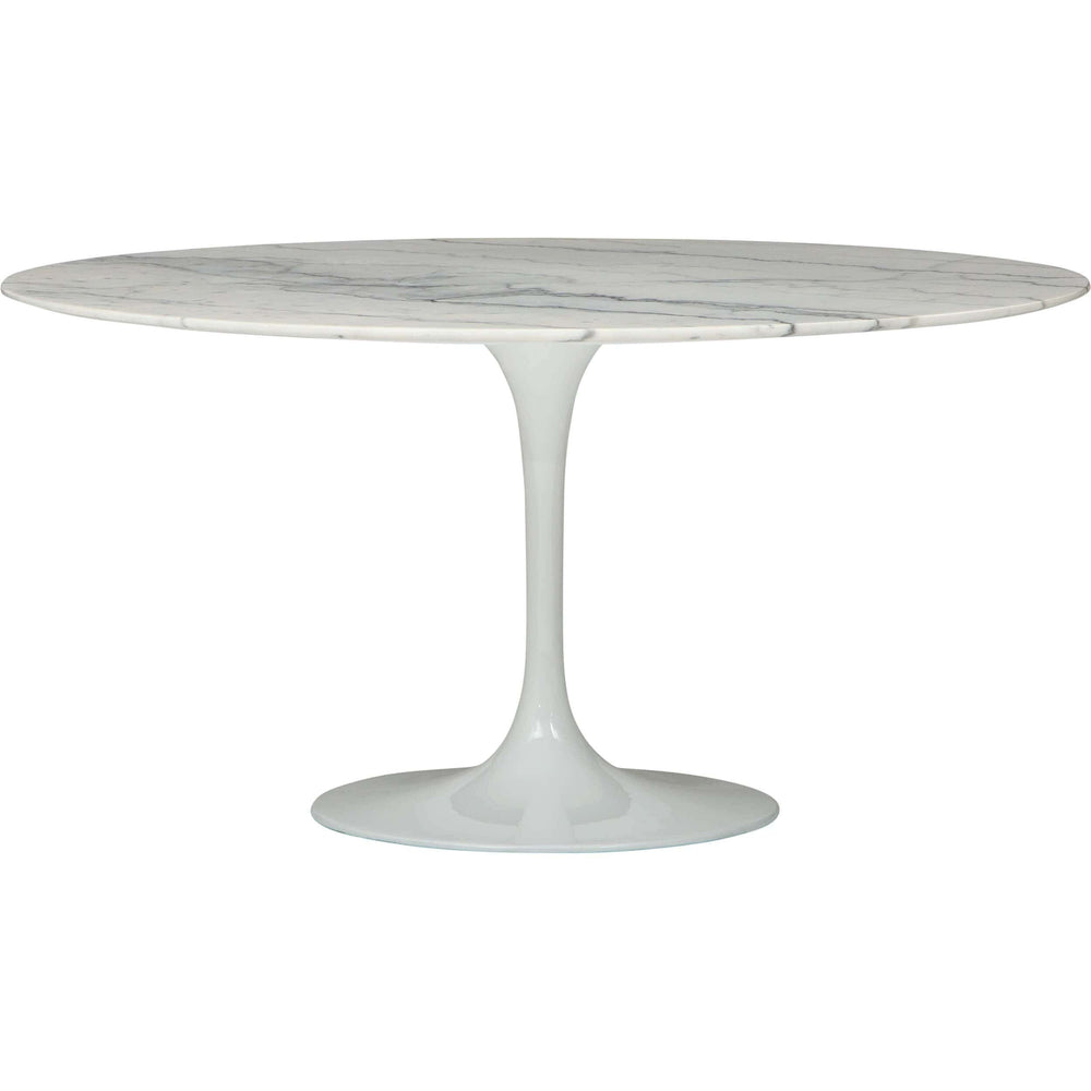 Cal Round Dining Table, White Marble - Modern Furniture - Dining Table - High Fashion Home
