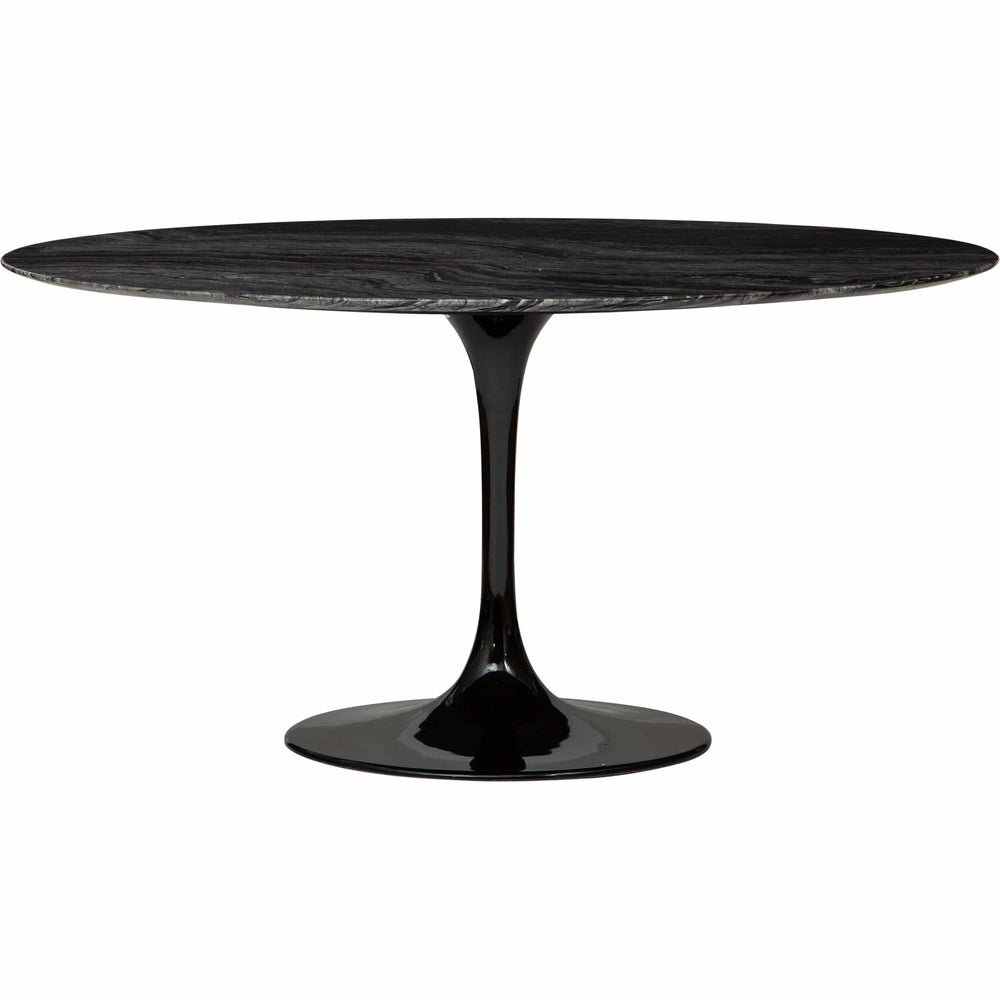 "Cal 59"" Round Dining Table, Black Marble"