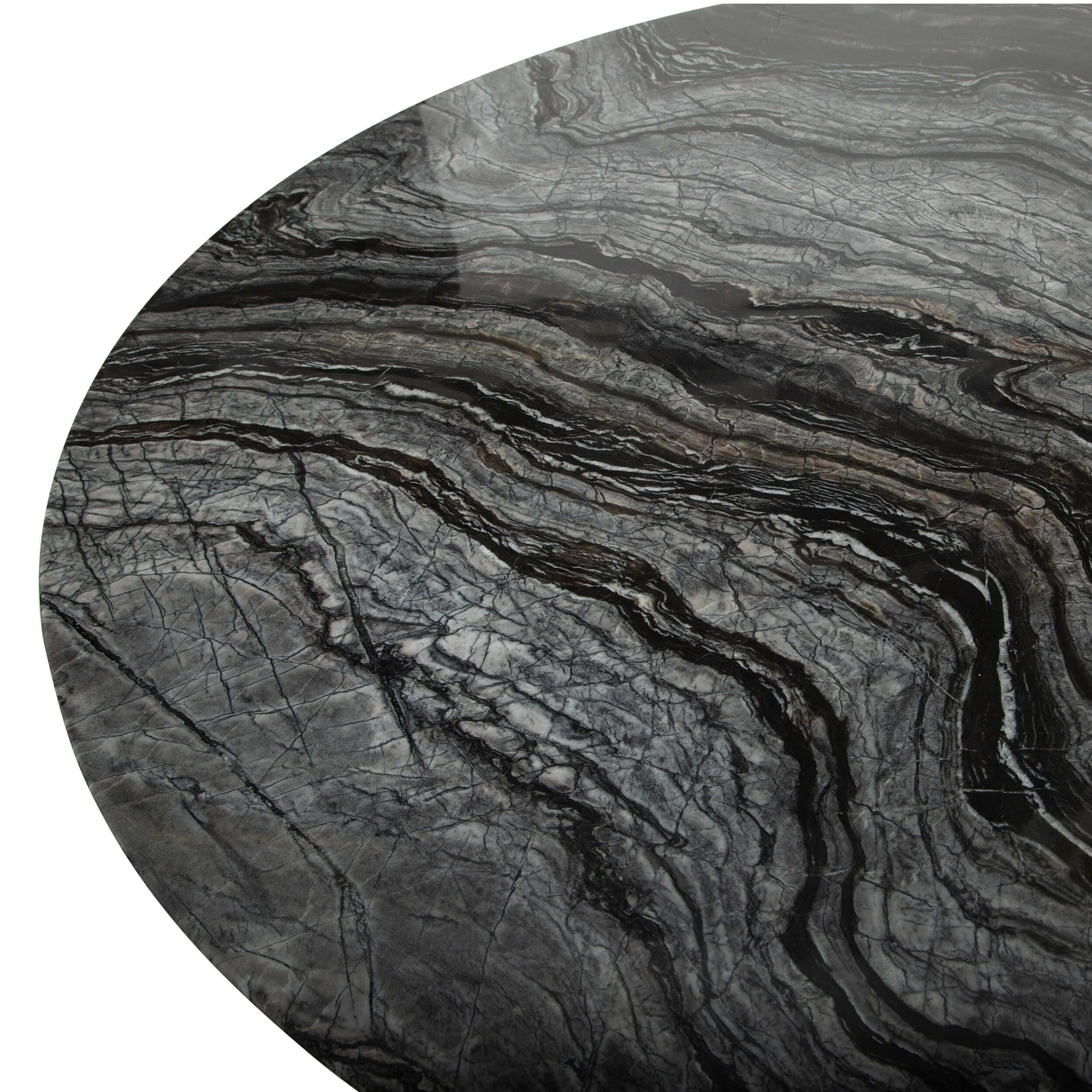 Cal Round Dining Table Black Marble High Fashion Home