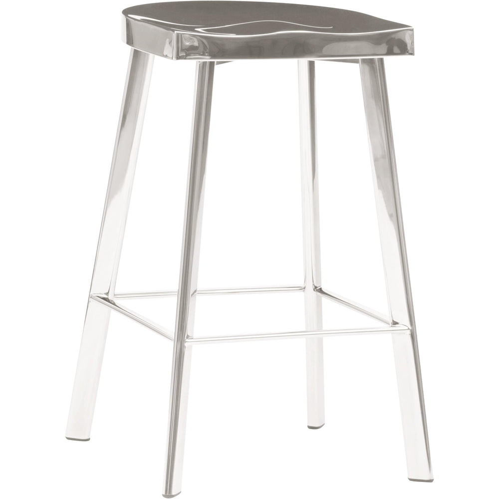 Icon Counter Stool, Polished Steel - Furniture - Dining - High Fashion Home