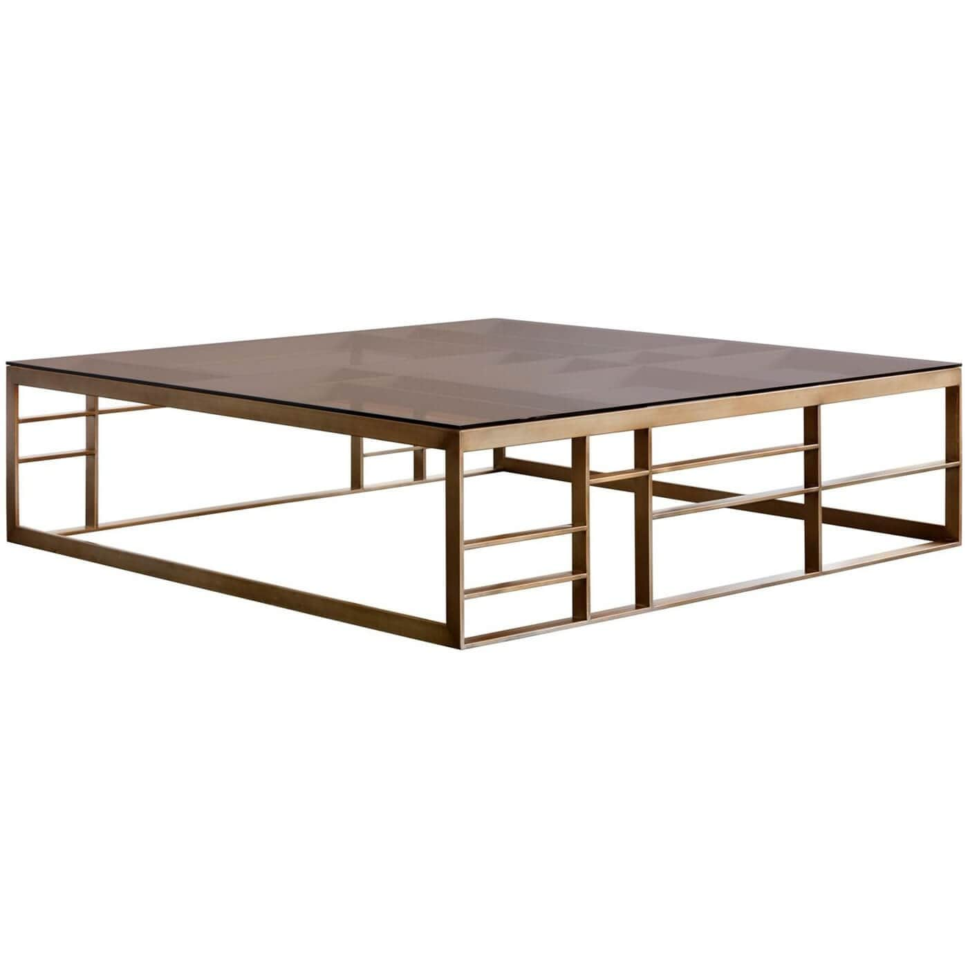 Joanna Coffee Table Square Antique Brass Brown Glass High Fashion Home