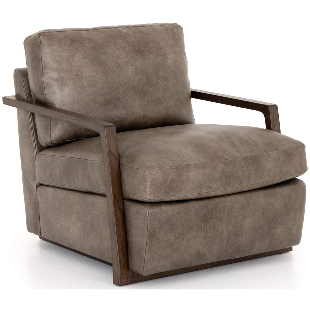 Judd Leather Chair, Deacon Slate - Modern Furniture - Accent Chairs - High Fashion Home
