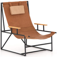 Judson Leather Sling Chair, Chestnut Brown - Modern Furniture - Accent Chairs - High Fashion Home