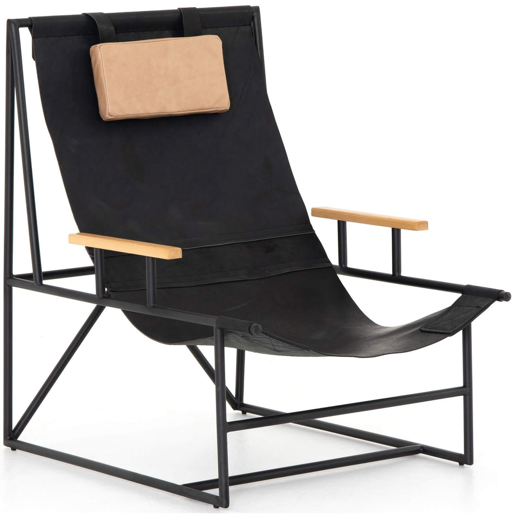 Judson Leather Sling Chair, Ebony Natural - Modern Furniture - Accent Chairs - High Fashion Home