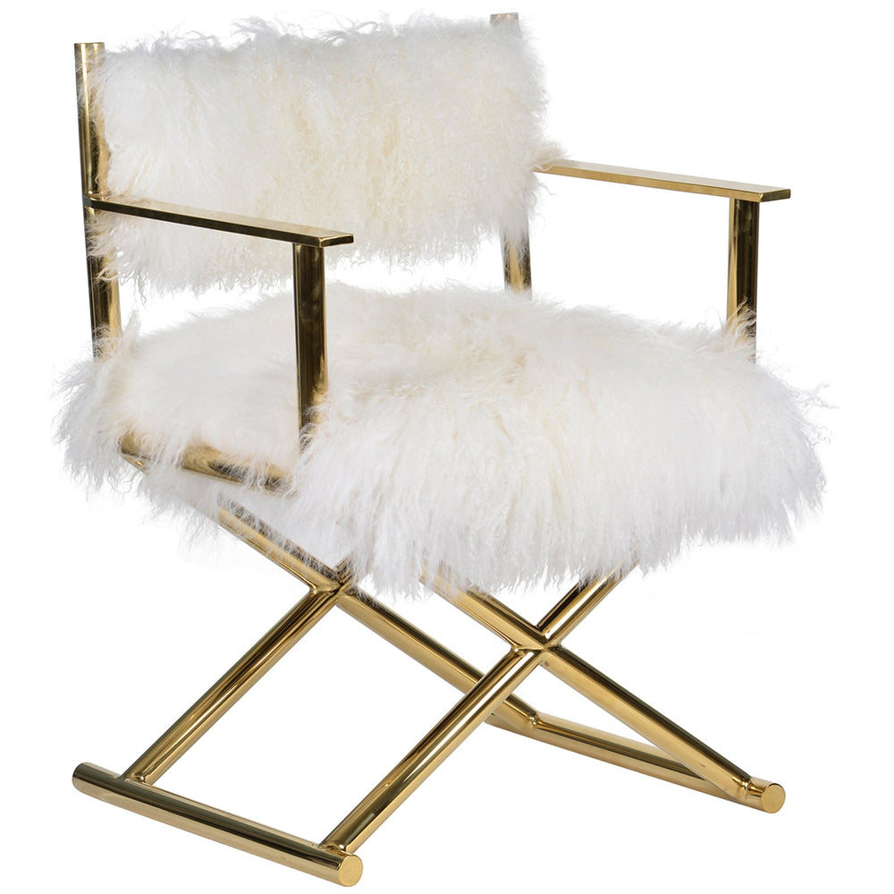 Gigi Mongolian Fur Chair, Gold - Furniture - Chairs - Fabric