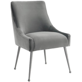 Beatrix Side Chair, Light Grey/Brushed Stainless Base
