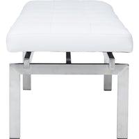 Louve Bench, White/Brushed Stainless Base - Furniture - Chairs - High Fashion Home