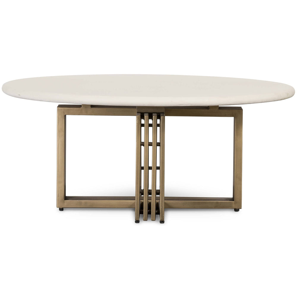 Mia Round Coffee Table, Parchment White - Modern Furniture - Coffee Tables - High Fashion Home