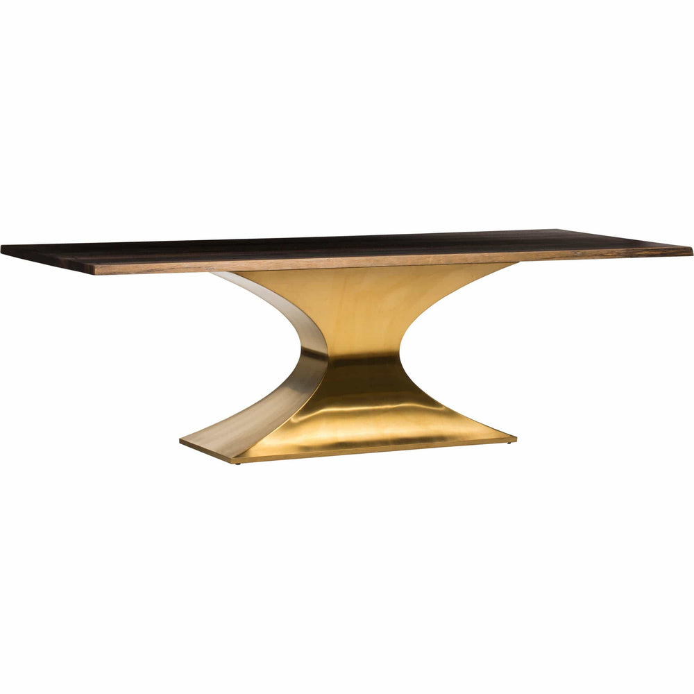 Praetorian Dining Table, Seared Oak/Brushed Gold Base - Furniture - Dining - Dining Tables