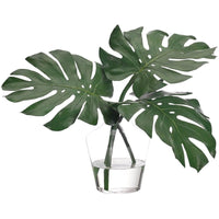 Monstera Leaf in Glass Vase - Accessories - High Fashion Home