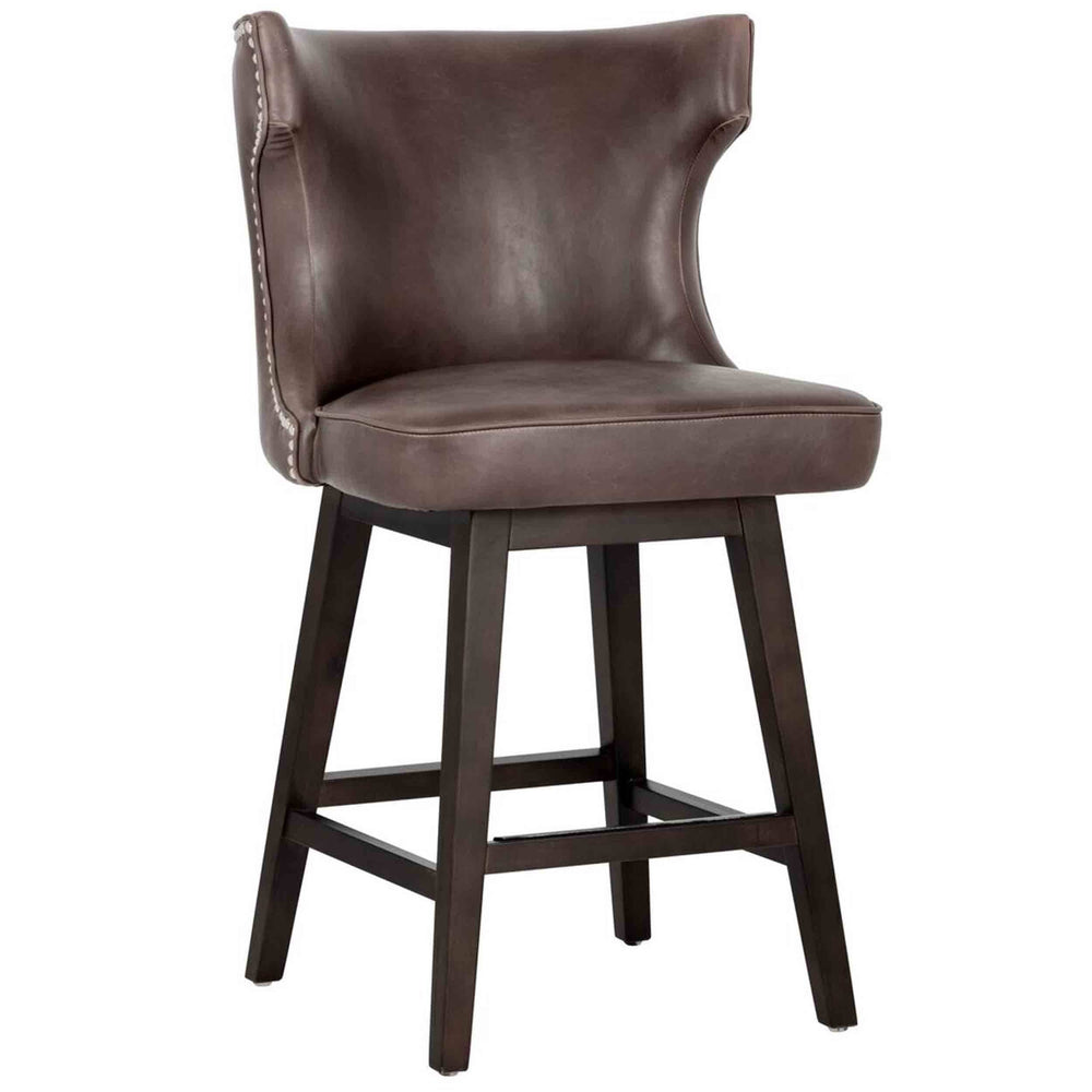 Neville Swivel Counter Stool, Havana Dark Brown - Furniture - Sunpan